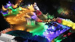 色とりどりの氷像、渓谷に 層雲峡温泉