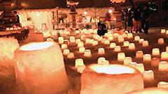 スノーキャンドル2千個 優しく揺れる 札幌・定山渓神社で「雪灯路」